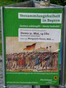Plakat der Gruenen zur Demonstration gegen das neue Versammlungsgesetz